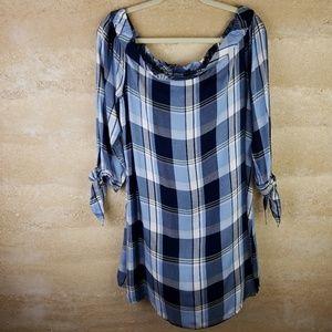 SO Blue Plaid Sz XL mini dress